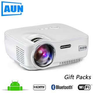AUN Projector AM01S 1400 Lumens LED Projector Set in Android 4.4 WIFI Bluetooth Support Miracast Airplay KODI AC3 MINI Beamer (32732427847)  SEE MORE  #SuperDeals