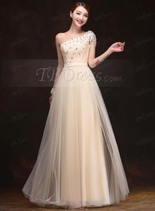 Elegant A - line den ene skulder læg Beaded brudepige kjole