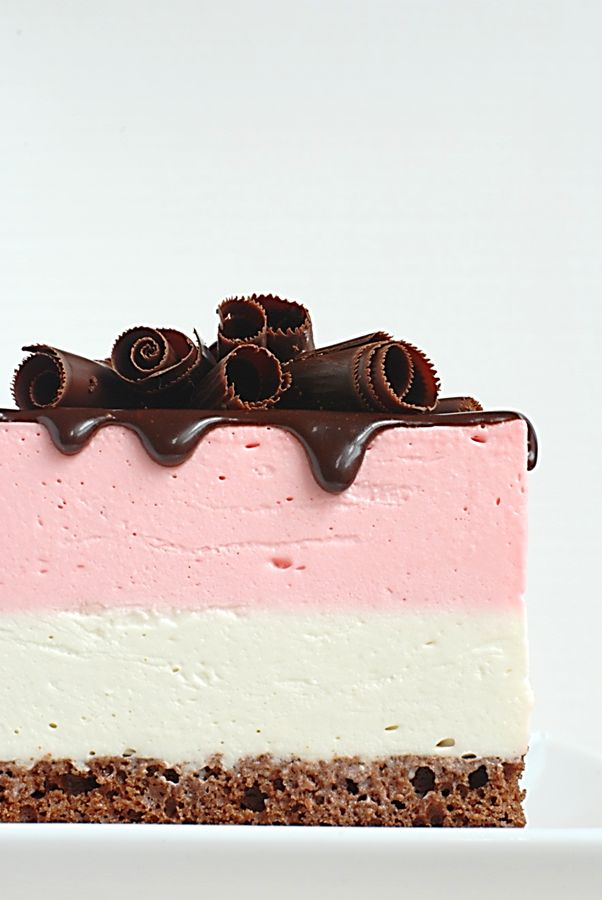 Neapolitan Mousse Cake ~ decadent, creamy indulgence. Recipe is broken down into 5 easy steps!