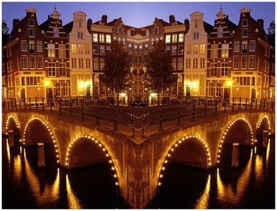 Amsterdam lit by night