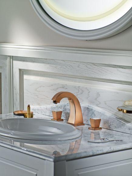 VitrA Bathroom washbasin, copper tap, marble effect and illuminated mirror - Bathroom ideas