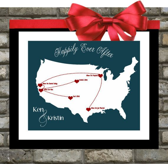 Our Love Story: Personalized Wedding Gift Custom Map, Anniversary Gifts For Husband Her Wife Him Long Distance Relationship History