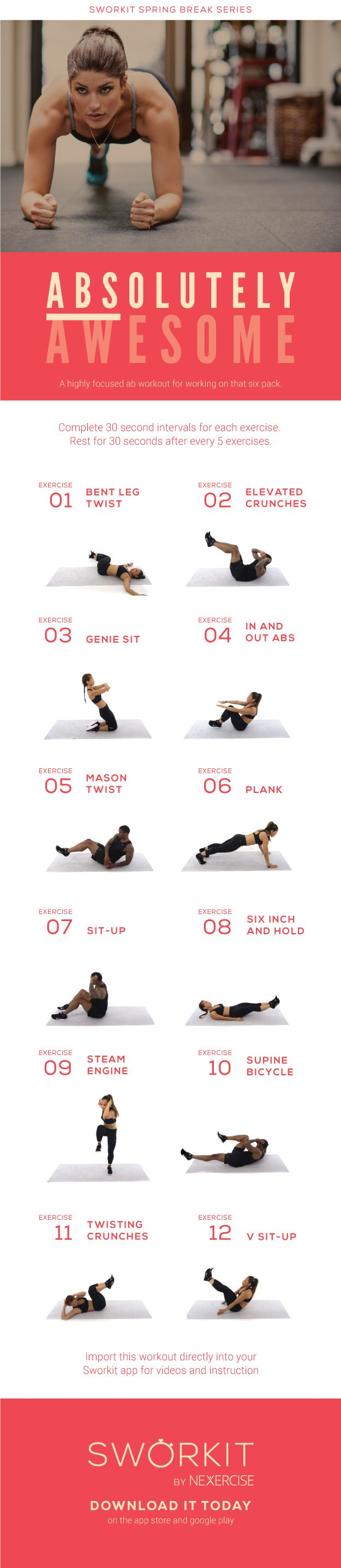 (Abs)olutely awesome. This custom workout is a highly focused ab workout for working on that six pack. We hope you enjoy. Stay on the look out for more great custom workouts by Sworkit!