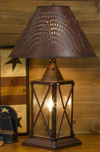 Barn red country table lamp country store of geneva