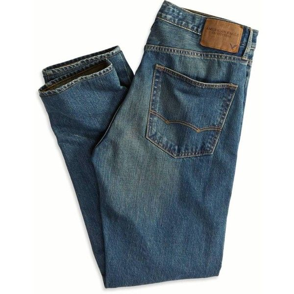 American Eagle Outfitters Original Taper Jean ($30) ❤ liked on Polyvore featuring men's fashion, men's clothing, men's jeans, men's relaxed fit jeans, american eagle outfitters mens jeans, mens slim tapered jeans, mens tapered jeans and mens relaxed boot cut jeans