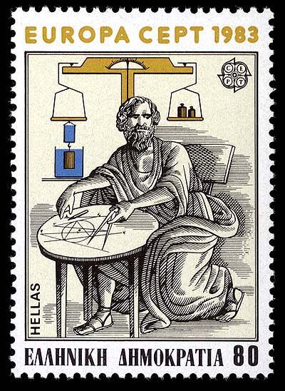 GREECE Issued April 28, 1983 Scott Catalog Number 1460 One of a set of two in the 1983 Europa series The illustration of Archimedes is adapted from a Renaissance mosaic depicting his death. His head, however, is from the bust used in the Italian stamp above.