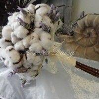 Bouquet da sposa fiori di cotone e lavanda