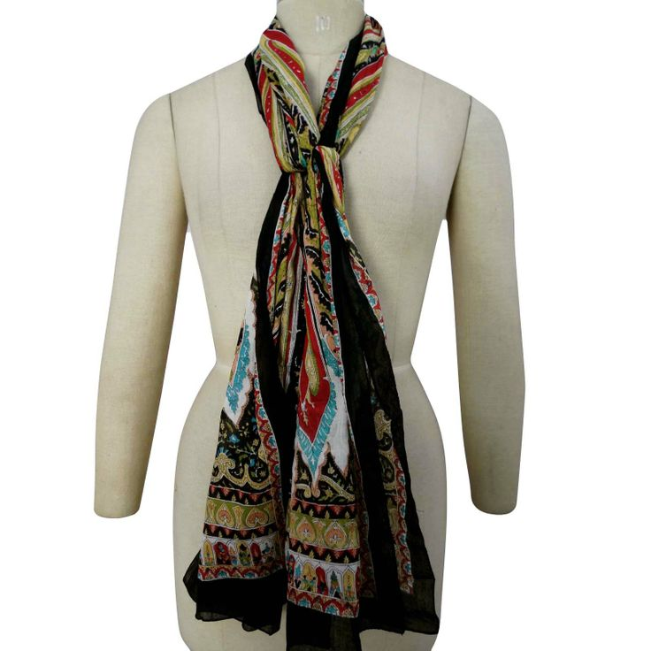 70?X 20? Stylish Scarf Cotton Black Neck Wrap Women Scarves Free Shipping    ..this is img
