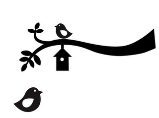 Bird and branch used on one of the cupcake platter designs.  Free cutting file or print!