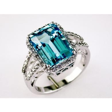Ladies Diamond & Blue Topaz Ring in 14K White Gold (TCW  9.78).