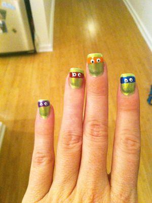 Ninja Turtle Nails@Jeanine Salinas...do you love it?! haha. So WEIRD.