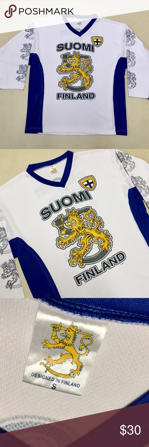 Finland - Suomi Men's Hockey Jersey 🇫🇮 Finland Hockey Jersey  Suomi Finnish Men's National Hockey Team  Size Men's Small   Hockey jersey runs a size or two larger!  Excellent condition!  🏒 Shirts Tees - Long Sleeve