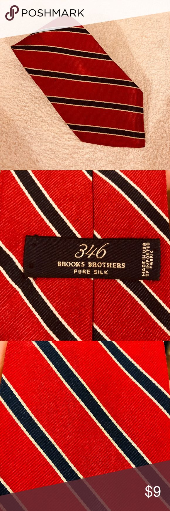 Brooks Brothers Red w/ Navy & White Stripe Tie Brooks Brothers Red With Navy Blue and White Stripe Silk Necktie! Great condition! Please make reasonable offers and bundle! Ask questions! Brooks Brothers Accessories Ties