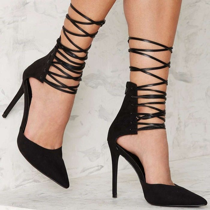 Nastygal Strap Minded Lace Up Heels