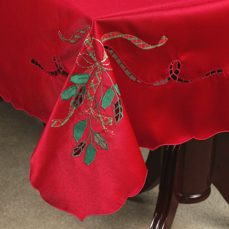 The Polyester Lenox(R) Holiday Nouveau Cutwork Table Runner And Table  Linens Have Appliqued And Embroidered Ribbon And Holly, Accented With  Cutwork,.