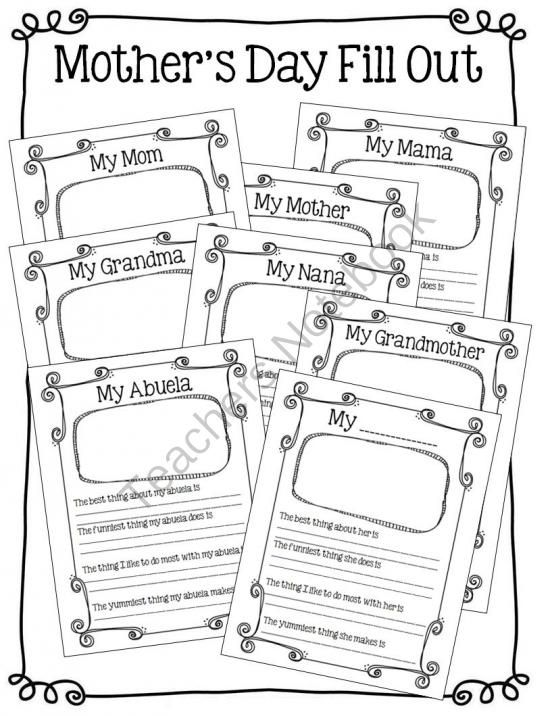 FREE Mothers Day Fill Out- 8 Versions from