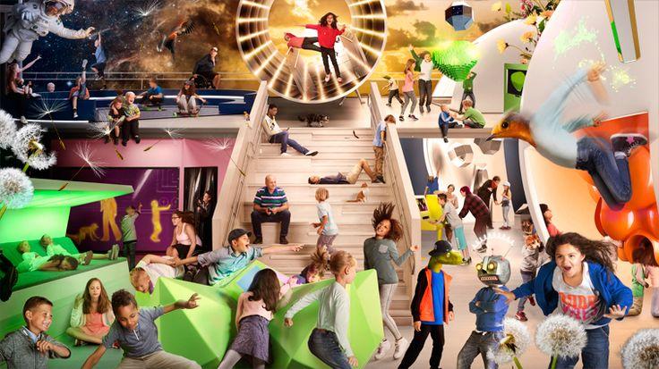 Bildcollage från MegaMind med många barn och fantasifigurer.