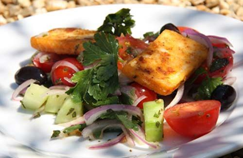This fried halloumi salad recipe is from River Cottage.  Easy to make and very tasty