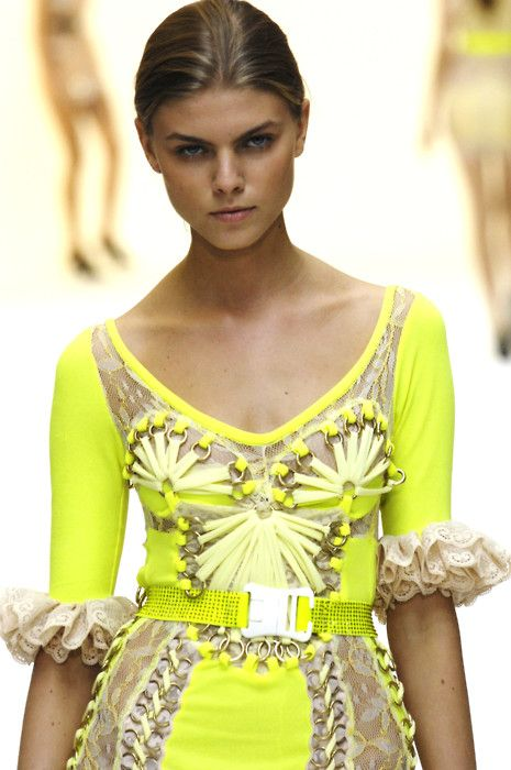 neon! I hate the ruffles at the bottom of the sleeve, but other than that this is lovely.