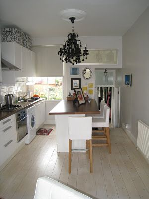 Small Kitchen Island with Seating | Small London kitchen with an island that seats four at the counter and ...