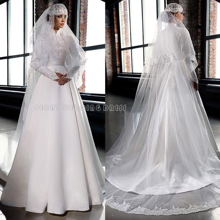 Find A Vintage Beaded Lace Satin Muslim Wedding Dress High Neck Line Long Sleeve Muslin Gown Online ShoppingWedding