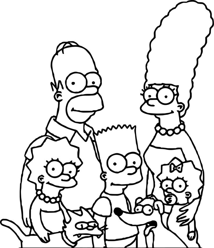 nice Simpsons Family And Dog Coloring Page Zeichnen