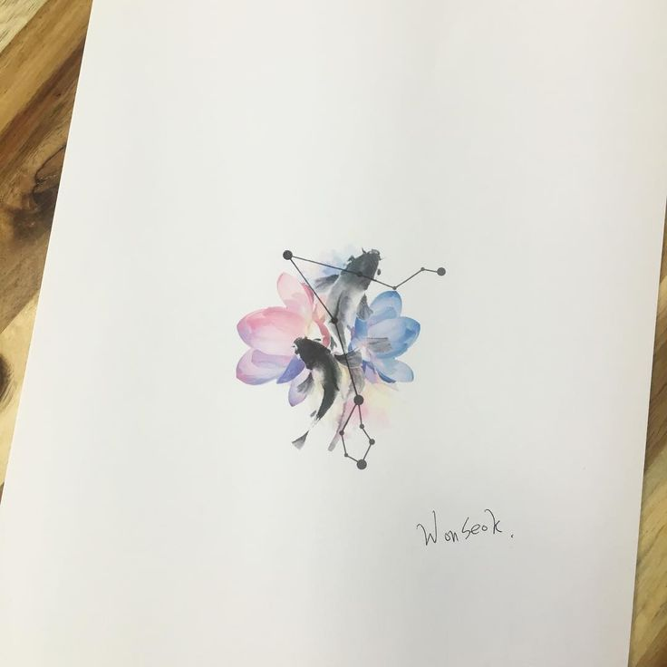 "2,727 Likes, 7 Comments - 타투이스트_원석 (@tattooist_wonseok) on Instagram: ""∥물고기 타투 도안∥Pisces, Lotus watercolor design . . .물고기, 물고기 자리, 연꽃 . . #illust #tattoo #design…"""