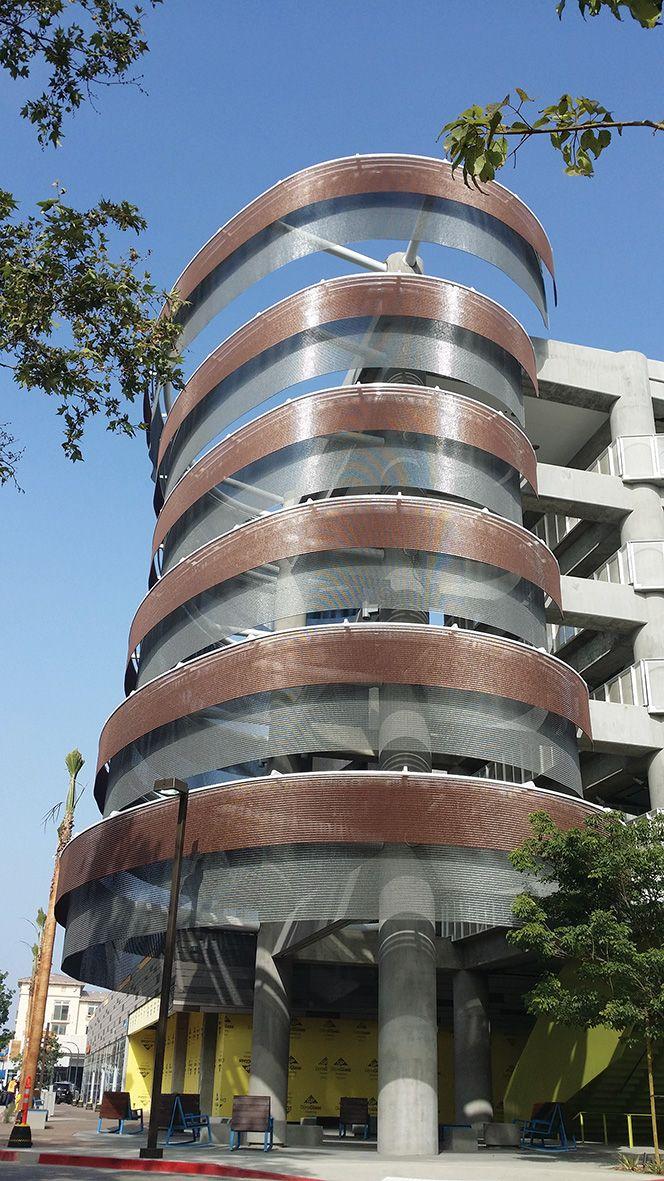 Kinetic facade at Enagua Plaza at Playa Vista. Designed by Ned Kahn using Kaynemaile architectural mesh.