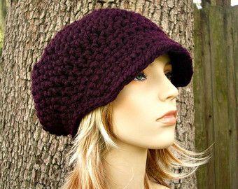 Púrpura para mujer sombrero sombrero de vendedor de periódicos púrpura - sombrero morado para mujer accesorios invierno sombrero del ganchillo sombrero del sombrero del vendedor de periódicos Crochet morado berenjena-