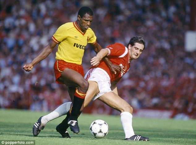 Luther Blissett (Watford FC, 1975–1983, 246 apps, 95 goals + 1984–1988, 127 apps, 44 goals + 1991–1993, 42 apps, 9 goals). Watford FC vs Manchester United FC in the mid 1980's.