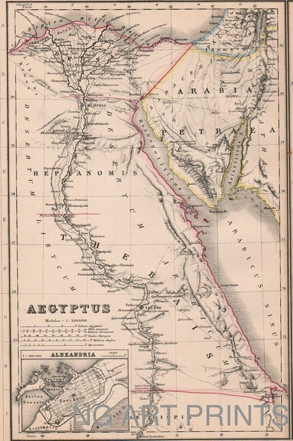 Ancient Egypt Map  by NGArtPrints, $26.00