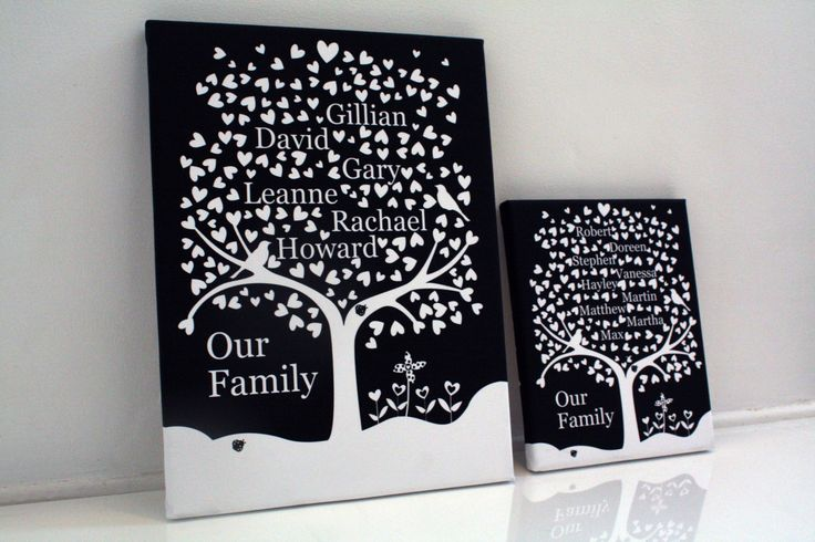 Large family heart tree personalised family keepsake mothers day fathers day gift grandparents handmade christmas present mum dad nan home by EssexPrintingService on Etsy