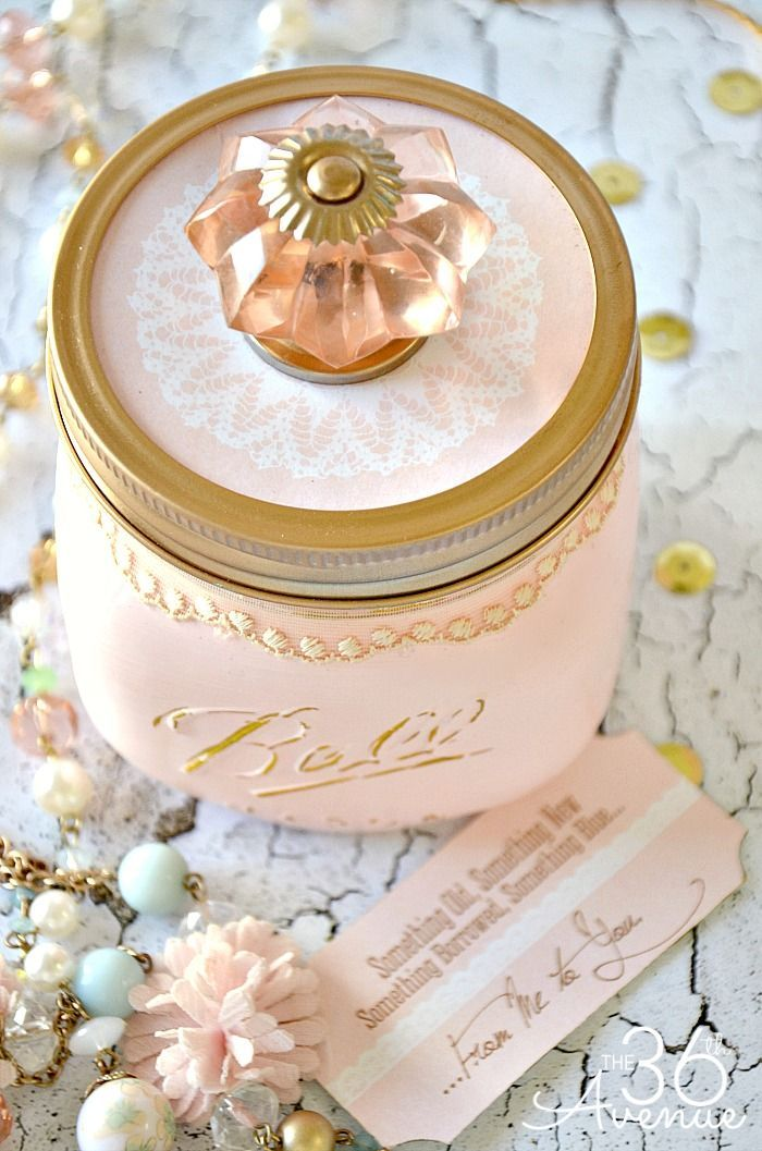 Mason Jar Crafts - Something Old, Something New, Something Borrowed and Something Blue Gift Jar by http://the36thavenue.com