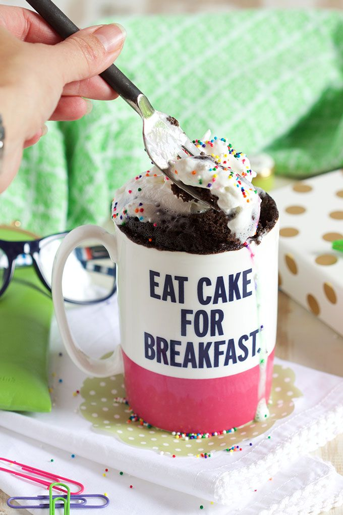 Rich, chocolatey, fluffy cake that's ready in less than 2 minutes, this is the BEST EVER Chocolate Mug Cake Recipe there is. | @suburbansoapbox