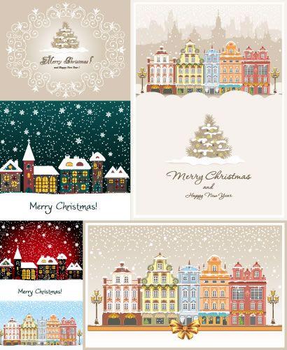 冬の雪景色町並み家建物クリスマスツリー飾り罫線フレーム枠