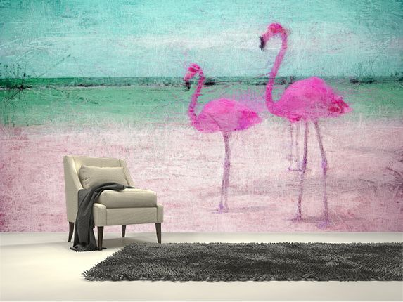 Flamingo Turquoise Pink Wall Mural Room Setting
