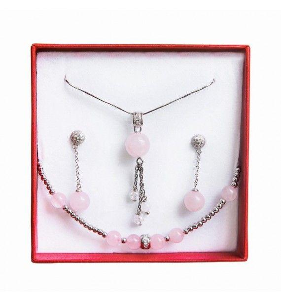 Set bijuterii argint rodiat cuart roz-Tie-Me-Up