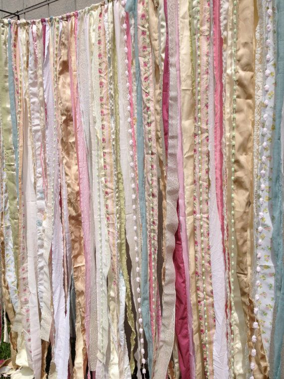 Shabby Rustic Chic Boho Fabric Garland Backdrop - Banner, Nursery, Dorm, Gypsy Festival Curtain, Room Decor - Glamping Caravan- 6 ft x 6 ft
