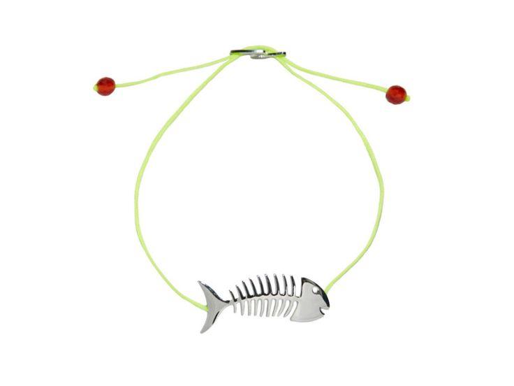 BRACCIALE FISHBONE ARGENTO 925 PLACCATURA ORO BIANCO COLORE FILATO: GIALLO FLUO PIETRE: CORNIOLA