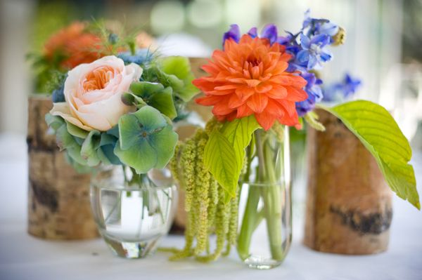 Beautiful Orange Green and Blue wedding (and a dress with a lace overlay!)  | Elizabeth Anne Designs