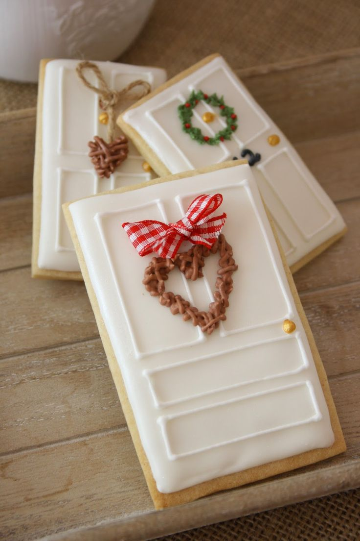 Door cookies decorated various ways with one rectangle cutter. So cute!