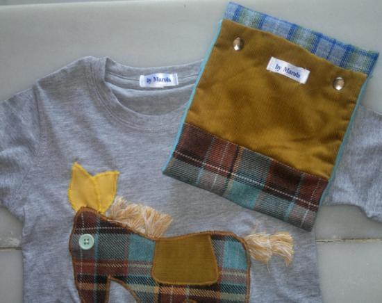 conjunto de camiseta y cuello infantil patch  camiseta de algodón 100%,botones  flecos  tejidos,tejido polar aplicación,patchwork