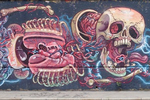 Nychos' Floating Human Anatomy Mural – view more (electrifying) images @ http://www.juxtapoz.com/Street-Art/nychoss-floating-human-anatomy-mural – #streetart #floatinganatomy #nychos