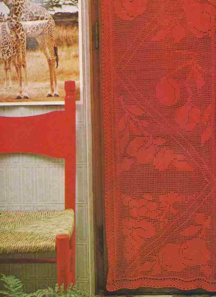 #211 Cortina Roja Crochet o Ganchillo