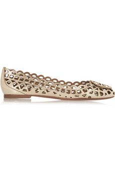 Tory Burch Mira laser-cut metallic leather ballet flats | THE OUTNET