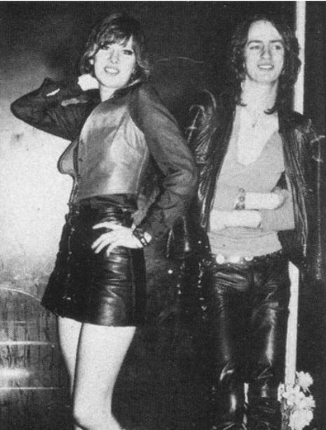 Chrissie Hynde and Nick Kent (both were rock journalists at the time) wearing Vivienne Westwood. 1973/4.