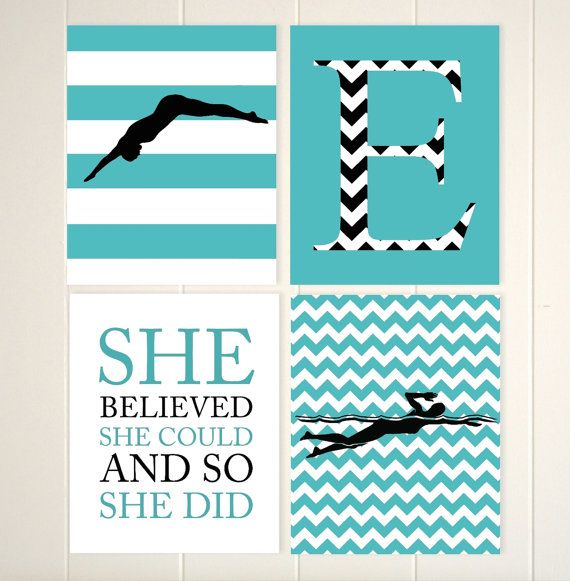 Swimming wall art, girl swimmer, monogram art, girl inspirational art, chevron room decor, turquoise black, choose your colors and sports by PicabooArtStudio