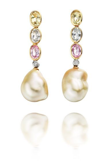 SAMANNA PEARL EARRINGS - Skilfully composed, a yellow pink and blue sapphire have been cleverly chosen to reflect the subtle hues in these beautifully matched golden south sea pearls.   18CT YELLOW GOLD SOUTH SEA PEARL EARRINGS WITH DIAMOND AND SAPPHIRE