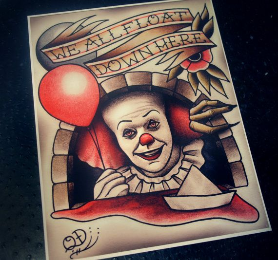 Pennywise Tattoo Art Print by ParlorTattooPrints on Etsy, $28.00