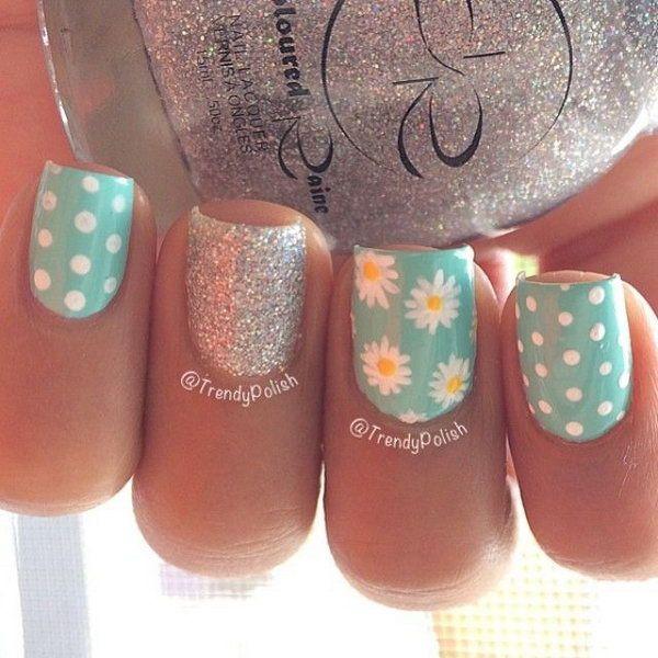 Flowers, Glitter and Polka Dots Nail Art. A perfect nail design for spring season.